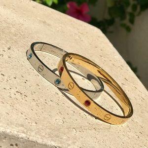 18k Gold Love Ruby Sapphire Crystal Cuff bracelet